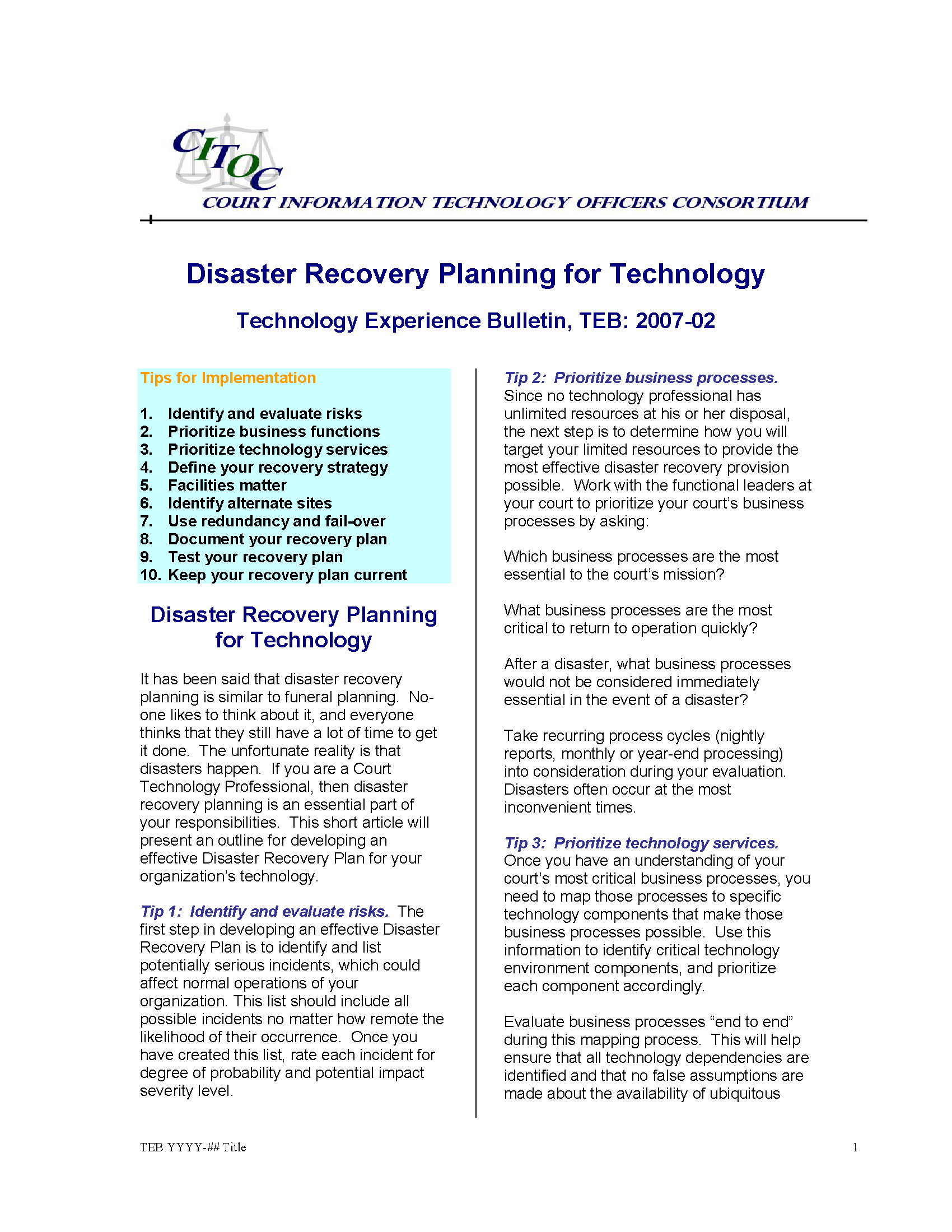 Disaster Recovery Planning for Technology - Courthouse